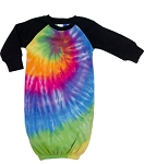 Austin Tie Dye Infant's Long Sleeved Sleeping Gown - Rainbow