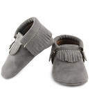 First Steps Eco-Leather Vegan Moccasins - Gray