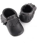 First Steps Classic Pebble Leather Moccasins - Black