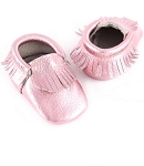 First Steps Classic Pebble Leather Moccasins - Pink