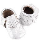 First Steps Classic Pebble Leather Moccasins - Silver