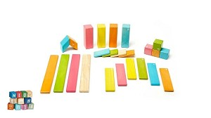 Tegu 24-piece  Magnetic Wooden Blocks - Tints
