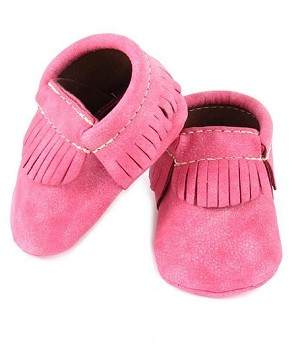 First Steps Eco-Leather Vegan Moccasins - Hot Pink
