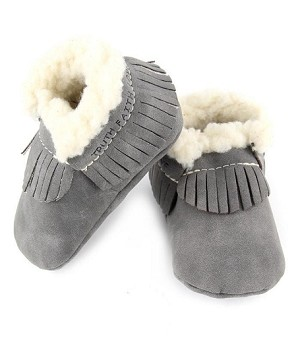 First Steps Vintage Series Leather Moccasins - Gray with Faux Lamb's Wool