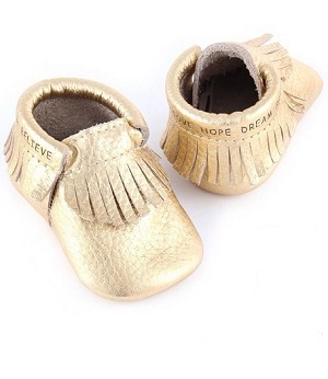 First Steps Classic Pebble Leather Moccasins - Gold