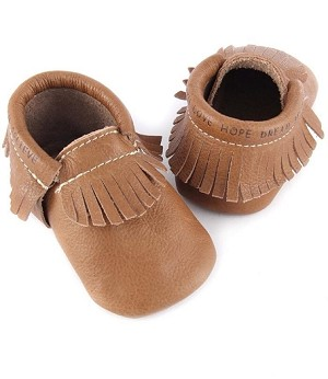 First Steps Classic Pebble Leather Moccasins - Vintage Brown