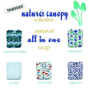 Thirsties Natural All In One Diaper - One Size Snap Closure