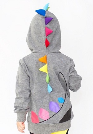 Doodle Pants Gray Dino Hoodie With Rainbow Horns