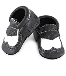 First Steps Brogue Pebble Leather Moccasins - Black and White